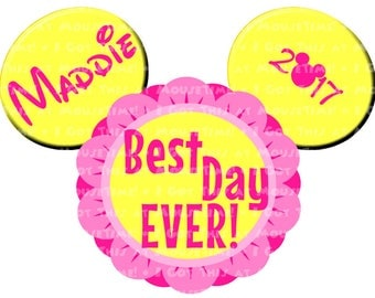 IRON-ON Best Day EVER! Ears (Minnie) - 6 Color Options! -  Mouse Ears Tshirt Transfer