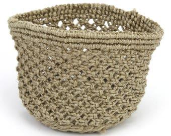 Handmade Knit Jute Pot Holder  5x3.5in