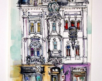 LVIV. UKRAINE. Shevhenko  Av #14. Original Watercolor Painting.
