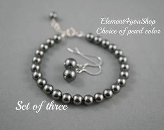 Bridesmaid bracelet earrings set of 3 Sterling silver jewelry Swarovski ivory pearls Wedding party gift Bridesmaid gift set Simple pearl set