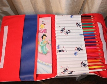 large pouch holder crayons and coloring with pencils notebooks
