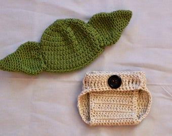 crochet yoda hat, yoda hat, yoda, diaper cover, yoda costume, baby yoda hat