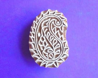 Paisley Clay Textile Pottery Fabric Hand Carved Wood Stamp Indian Printing Block