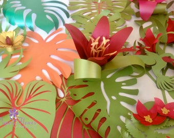 Tropical Theme Foliage and Flowers