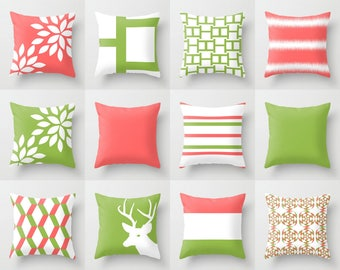 "Coral Pillow Covers Throw Pillow Covers Decorative Pillow Covers Accent Pillow Covers Green Pillow Covers Home Decor 16"" 18"" 20"" 26"