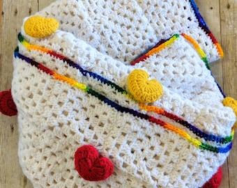 Love hearts blanket, crochet blanket, baby blanket, hearts blanket, snuggly blanket, cozy blanket, large blanket, rainbow blanket