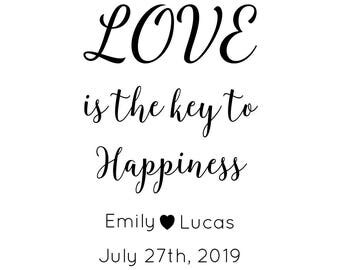 Love Is The Key To Happiness Stamp, personalised wedding stamp, wedding favours, love is happiness, wedding stationery stamp, (cts210)