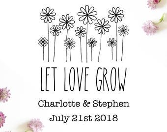 "Sunflowers Let Love Grow Stamp, save the date stamp, wedding stamp, card stamp, invitation stamp, gift tag stamp, 2""x2.7"" (cts118)"