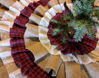 Flannel Burlap Lace Country Christmas Tree Skirt Unique Skirts