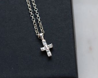 Sterling Silver Crystal Cross Pendant Necklace - Tiny Crystal Cross Pendant