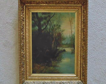 19th c. Oil Painting Deer & Human Woods Lake in Antique Gilt Wood and Gesso Ornate Picture Frame