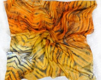 Hand painted silk scarf Square yellow chiffon summer scarf shawl Lightweight scarf handpainted Tiger Orange Black Abstract watercolor scarf