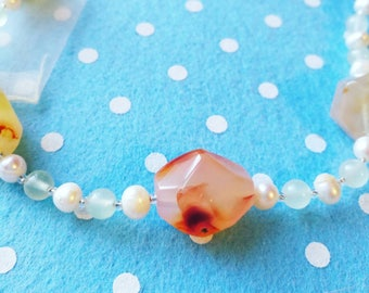 Carnelian jade and freshwater pearl necklace. Sterling silver clasp