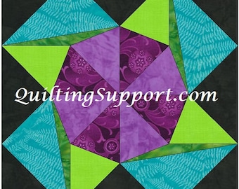 Rolling Flower 15 Inch Block Paper Template Quilting Block Pattern PDF