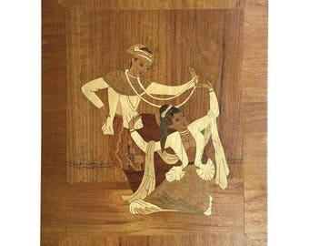 Burmese Dancers Inlaid Wood Wall Hanging