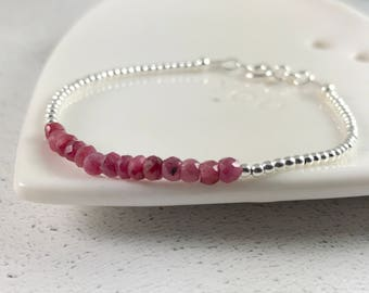 Ruby Bracelet, July Birthstone, Thin Ruby Bracelet, 40th Wedding, Ruby Anniversary, Gift for Wife, Sterling Silver, Dainty Gemstone Bracelet