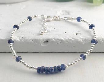 Blue Sapphire Bracelet, September Birthstone, Sapphire Jewellery, Dainty Bracelet, Sapphire Gift