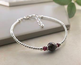 Garnet Bracelet, January Birthstone, Dainty, Thin, Sterling Silver, Birthstone Bracelet