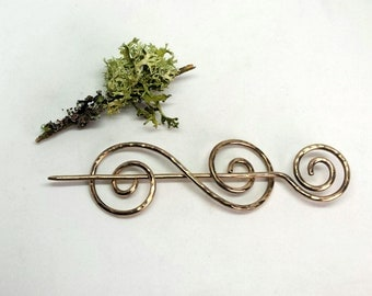 Hand Forged Double Spiral Bronze Brooch