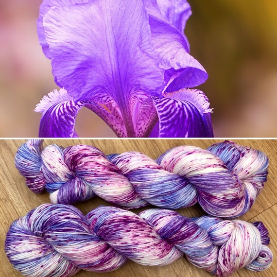 Spring Iris Sock Yarn, speckled 4ply merino nylon blend