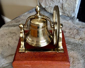 Vintage Brass Ships Bell with Pully, Nautical Desk Bell, Brass Bell, Nautical, Maritime, Coastal, Mid Century, Office Decor