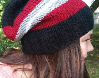 Slouchy Hat, Crimson Hat, Atlanta Football, Black Slouchy hat, baseball, Hand knit hat, beanie, skateboarding, Crimson, Alabama