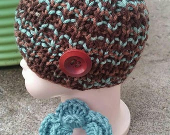 Baby Hat, Baby Knit Hat, Baby Beanie, knit Infant Hat, Brown Baby Beanie, Baby Beanie, Infant Baby Hat, Baby Girl Hat, Blue Baby Hat, knit