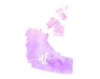 Northwest Territories Printable - digital download, dorm decor, map art, watercolor, minimalist art, canada outlinemap art, gallery wall