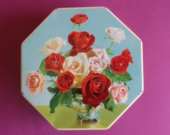 Vintage Red Octagonal English Toffee Tin with Roses