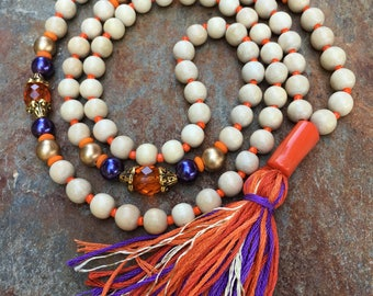 Long Beaded tassel necklace purple & orange natural wood beaded necklace Bohemian necklace ladies jewelry coral every Day colorful tassel