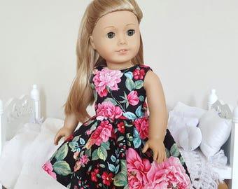 18 inch doll floral dress | skater dress | black floral
