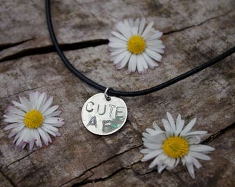 Cute AF Hand Stamped Glitter Coated Silver Tag Charm Choker on Black Genuine Leather Cord