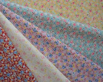 "Bundle of 1/8 Yuwa Atsuko Matsuyama 30's Collection Bambi, Roses and and Tulips in 5 Colorways. Approx. 9"" x 21"" Made in Japan"