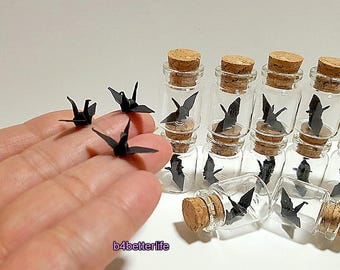 Lot of 12pcs Black Color 1-inch Hand-folded Paper Crane In A Mini Glass Bottle With Cork. (KR paper series). #CIB12j.