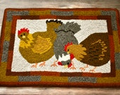 "28 x 17 Hooked Rug Pattern on linen - ""Hens in the Yard"""