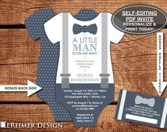 Little Man Baby Shower Invitation, Onesie Invitation, Bow Tie, Suspenders, Navy Blue, Gray, Self-Editing PDF Invite, BONUS Diaper Tickets
