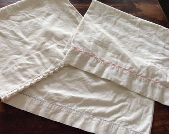 Three Small White Cotton Pillowcases/Pink trim/Blue Trim Pillowcases