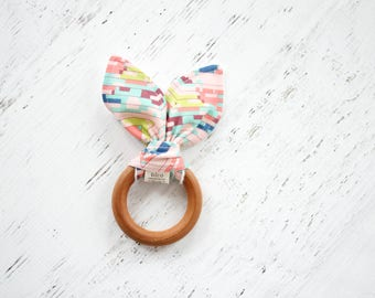 baby girl natural teething ring, wooden teething ring, wooden teether toy, baby girl teether toy, teething ring, baby gift