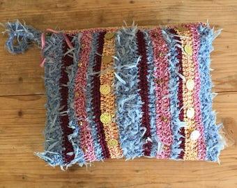 Ibiza style multicolor pink and blue, hand bag, handmade crochet cotton bag , summer bag, beach bag, boho ,