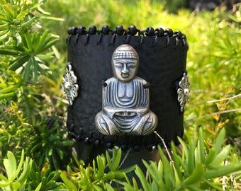 Tranquil Buddha Leather Wrist Cuff