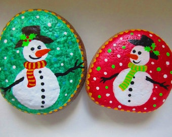 christmas painted rocks snowman