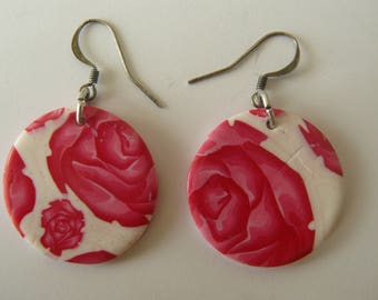 Earrings polymer clay pink roses