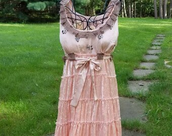 Peach Satin and Lace Cowgirl Boho Gypsy Dress