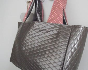 Faux leather tote bag * grey & old pink polka dots *.
