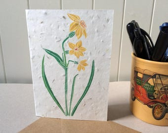 Daffodil - Plantable Card - Narcissus - Jonquil - Biodegradable Seed Card - Grow Your Own Wildflowers - Recycled Card - Wedding RSVP/Invite