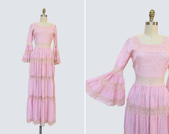 1970s Chiclets Dress { XS } Vintage Mexican Wedding Dress