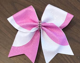 Pink and white tic toc bow