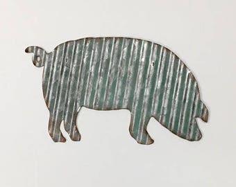 Pig/Metal Pig Wall Decor/Farmhouse/Farm/Corrugated Metal Pig/Galvanized