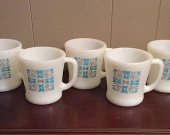 Vintage Milk Glass Coffee Mugs in Blue Heaven by Royal~Vintage Coffee Mugs~Retro Coffee Mugs