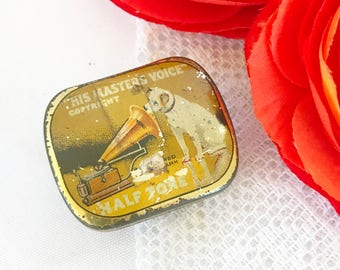 Antique Nipper Gramophone Needles Tin Litho Box, His Master's Voice, RCA Victor Vintage advertising case canister. yellow, record phonograph